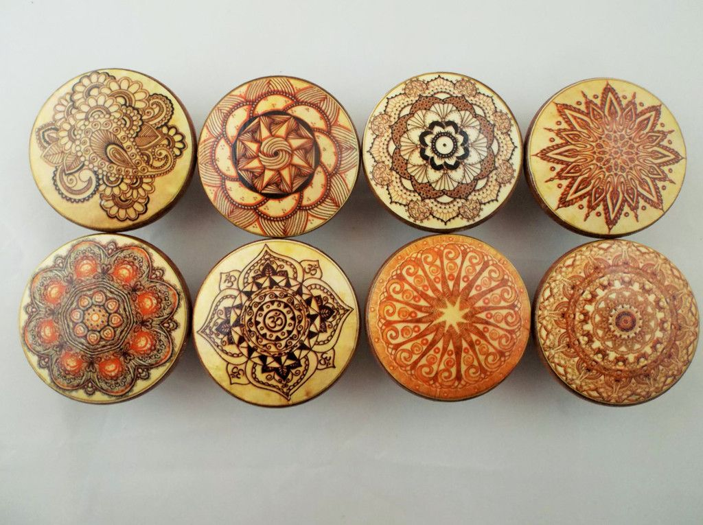 Set Of 8 Henna Ornaments Oversized Cabinet Knobs