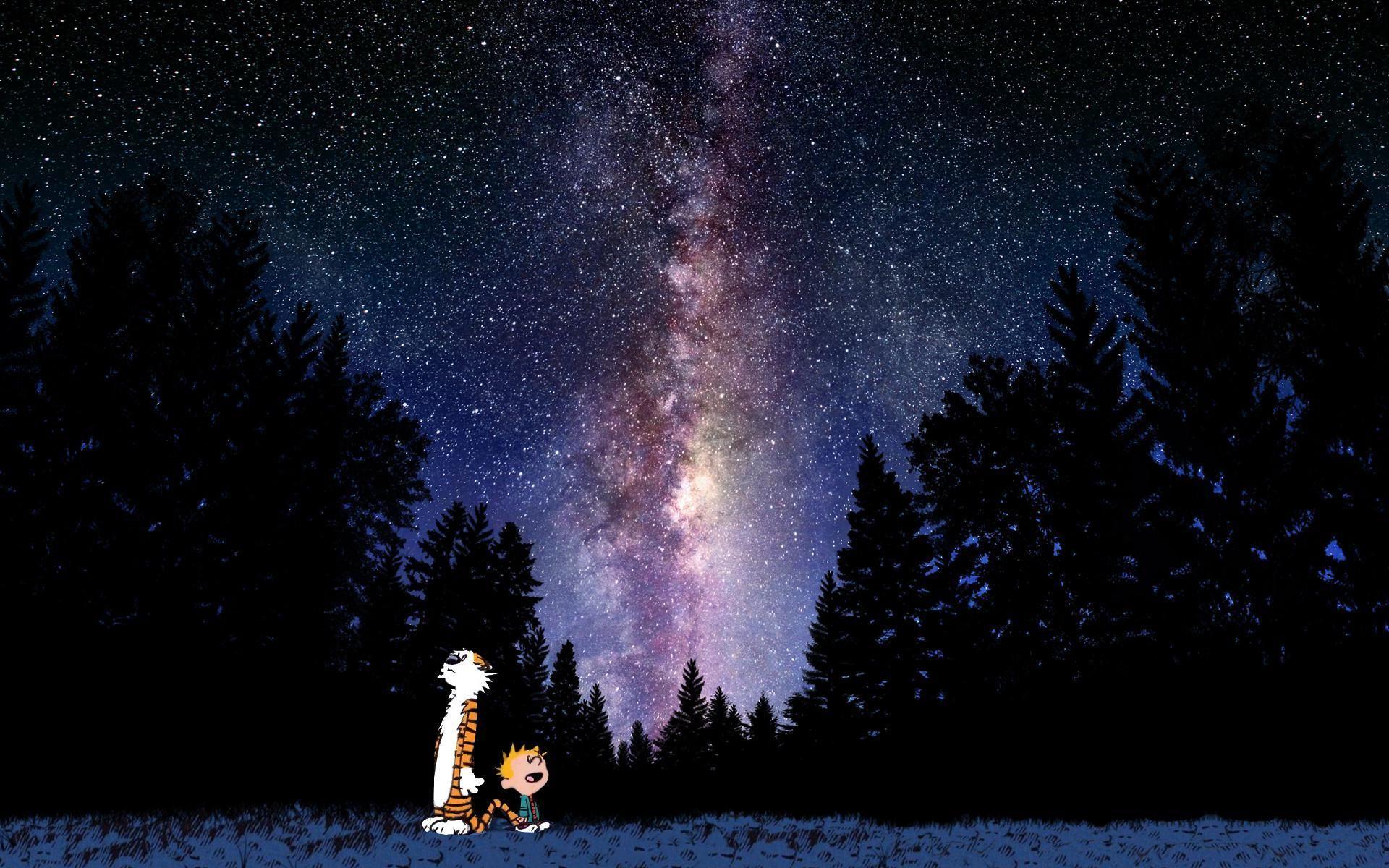 Calvin And Hobbes Looking At Stars Wallpaper 1920x1200 Id35253