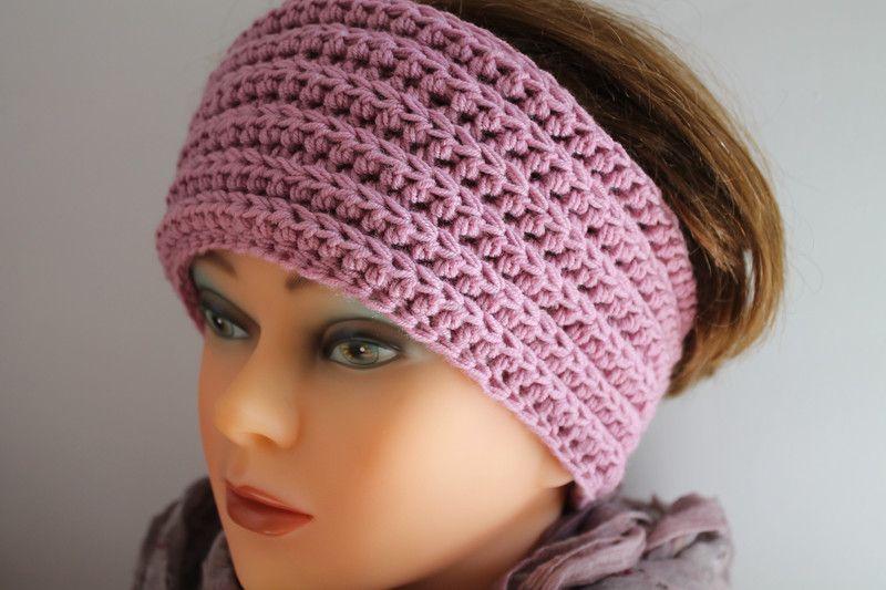 Stirnbänder - Stirnband häkeln aus Wolle * Farbe Heidekraut - ein ...