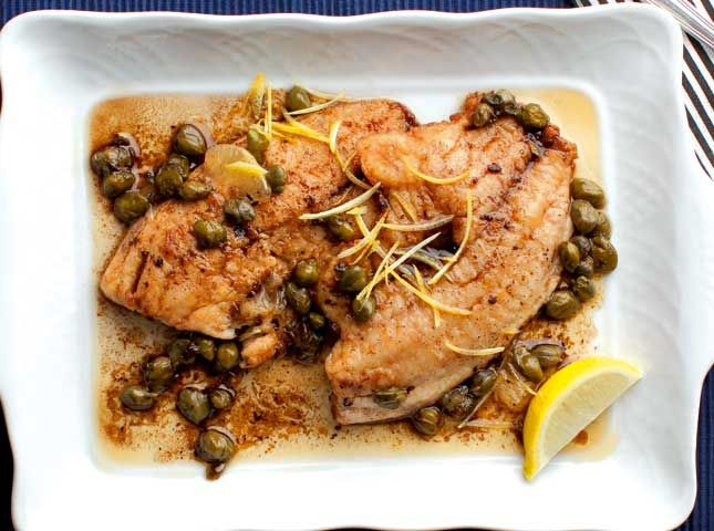 Pan fried fish fillet served with a sauce of brown butter for Pan fried fish fillet recipes