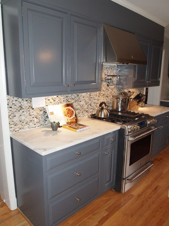 "Kitchen cabinet color - Benjamin Moore #1616 ""Stormy Sky\"