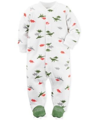 6c449b027bf7 Carter s Baby Microfleece Boys  Dinosaur-Print Footed Coverall ...
