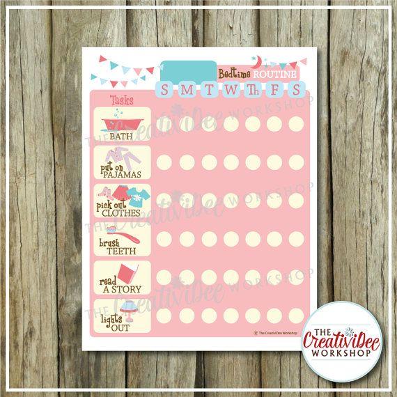 Daily bedtime routine chart printable pink evening girl   editable name children also rh pinterest