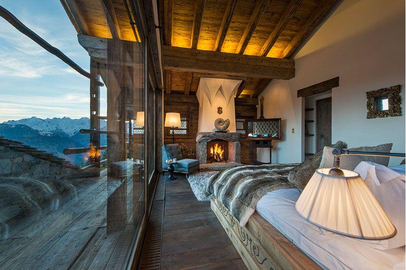 Bedroom In Luxury Villa In Swiss Alps
