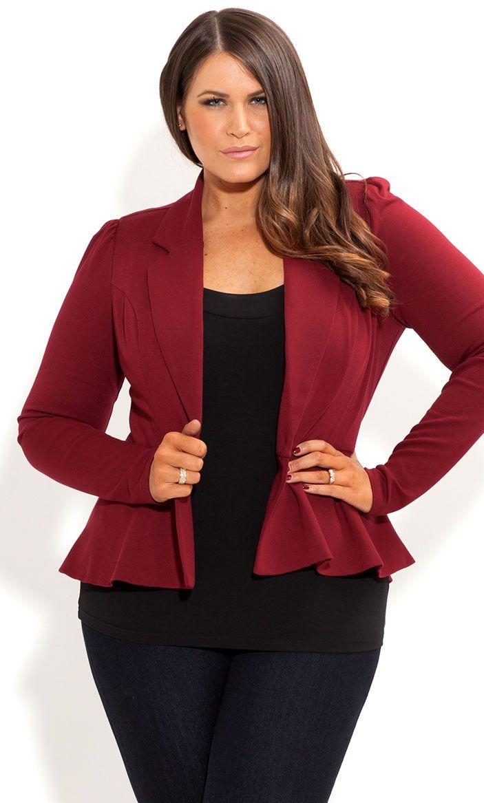 city chic long sleeve ponte peplum jacket womens plus