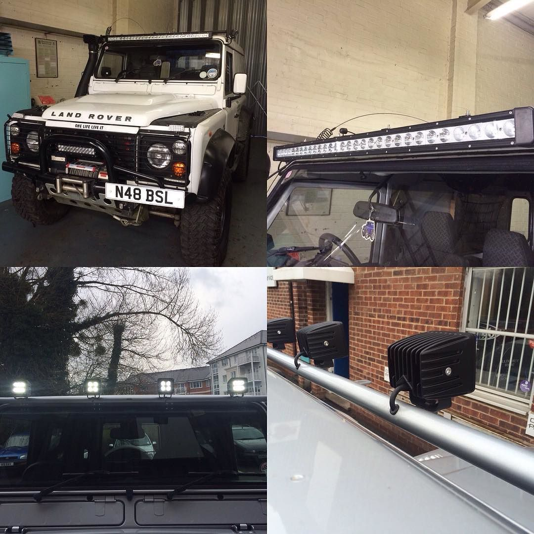 Landrover Defender Lighting Conversions With Single Light Bar And 4 Land Rover Lights Lamps Hidden Cableslandrover