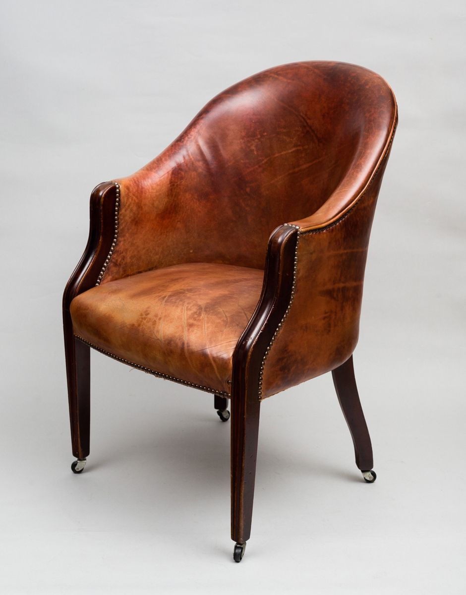 Superieur An Edwardian Mahogany Framed Tub Chair Upholstered In A Reddish Brown  Colored Leather With Brass Nail Heads, A Wrap Around Back And Square Molded  Tapering ...