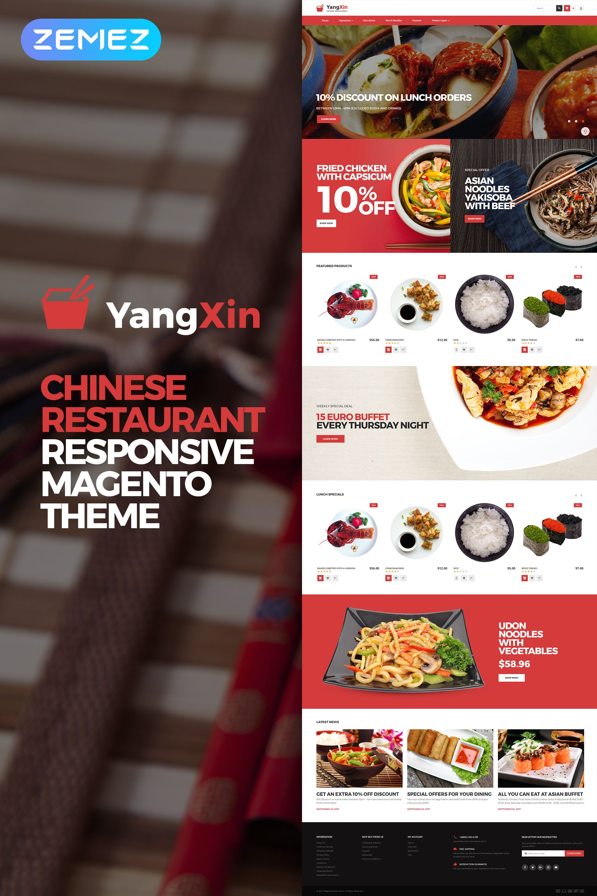 Yangxin Chinese Restaurant Magento Theme Chinese Yangxin Restaurant Magento Magento Themes Chinese Restaurant Food Web Design
