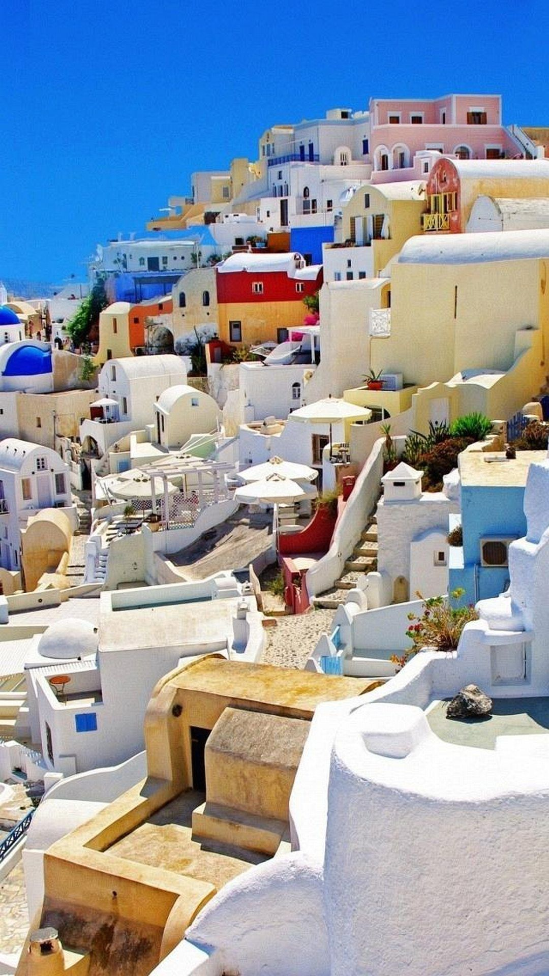 Santorini Greece Colorful Houses Android Wallpaper
