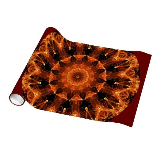 Fire Flower Mandala, Abstract Amber Flame Gift Wrapping Paper