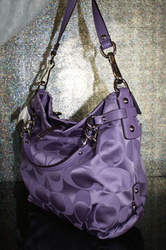 ed1117f93bc5 Coach PURPLE sateen signature large boho purse... I am in LOVE!!!!  3