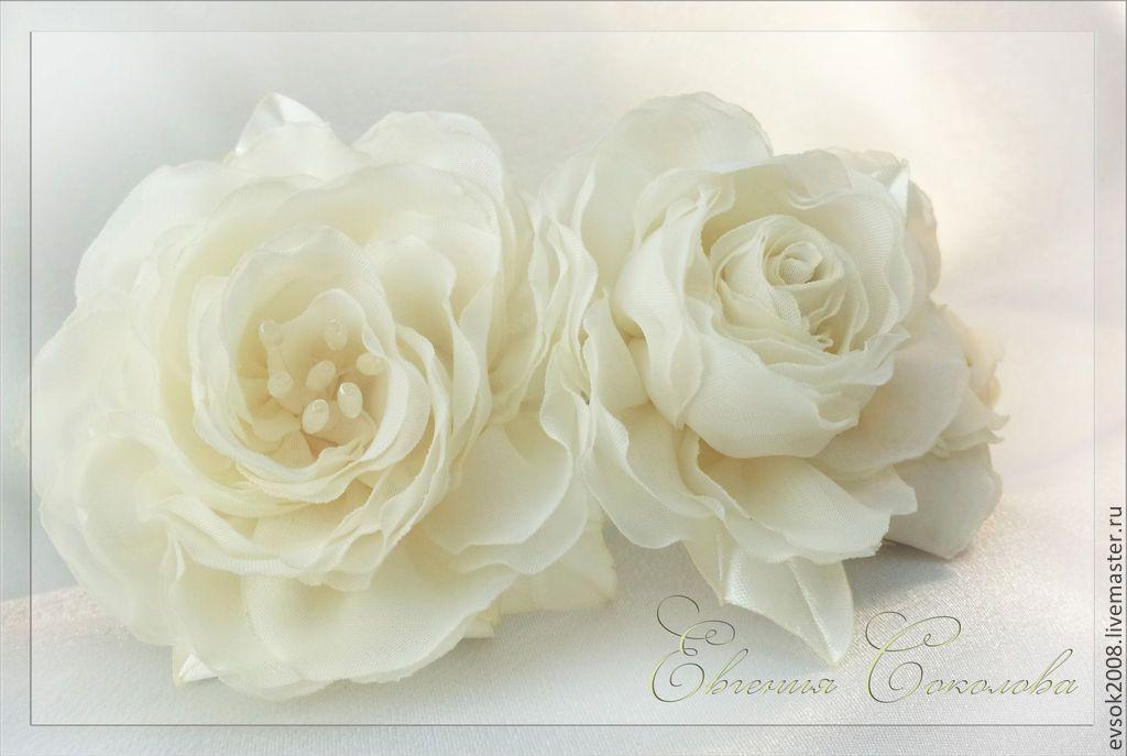 Купить Ободок с розами цвета айвори. - белый, цвет айвори, цвет слоновой кости