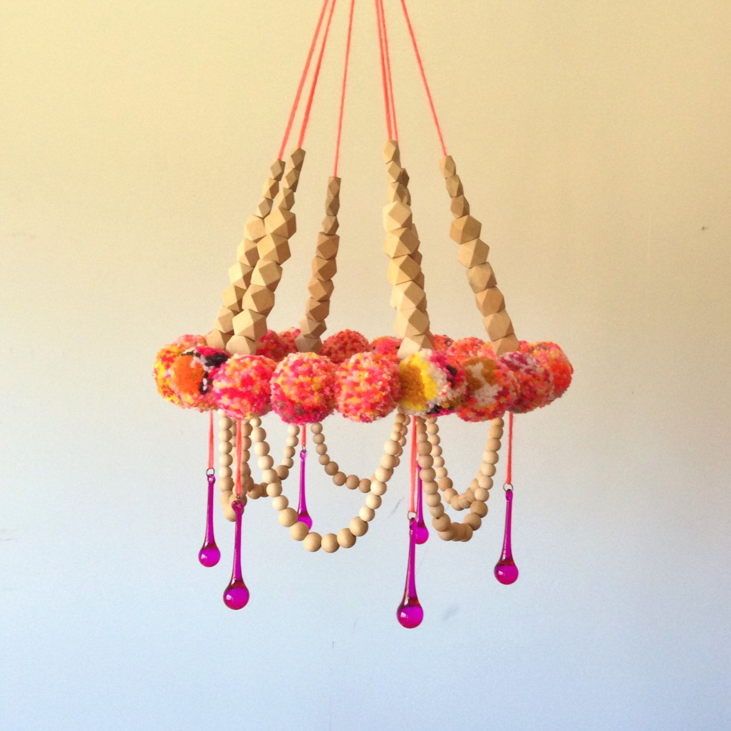 Wall Hanging Mobile PomPom Nursery Handmade Fiber Art Sculpture ...