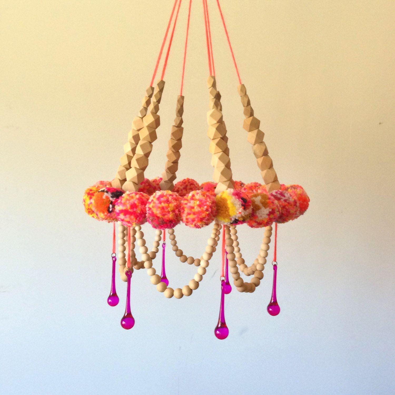 Wall Hanging Mobile PomPom Nursery Handmade Fiber Art Sculpture ...