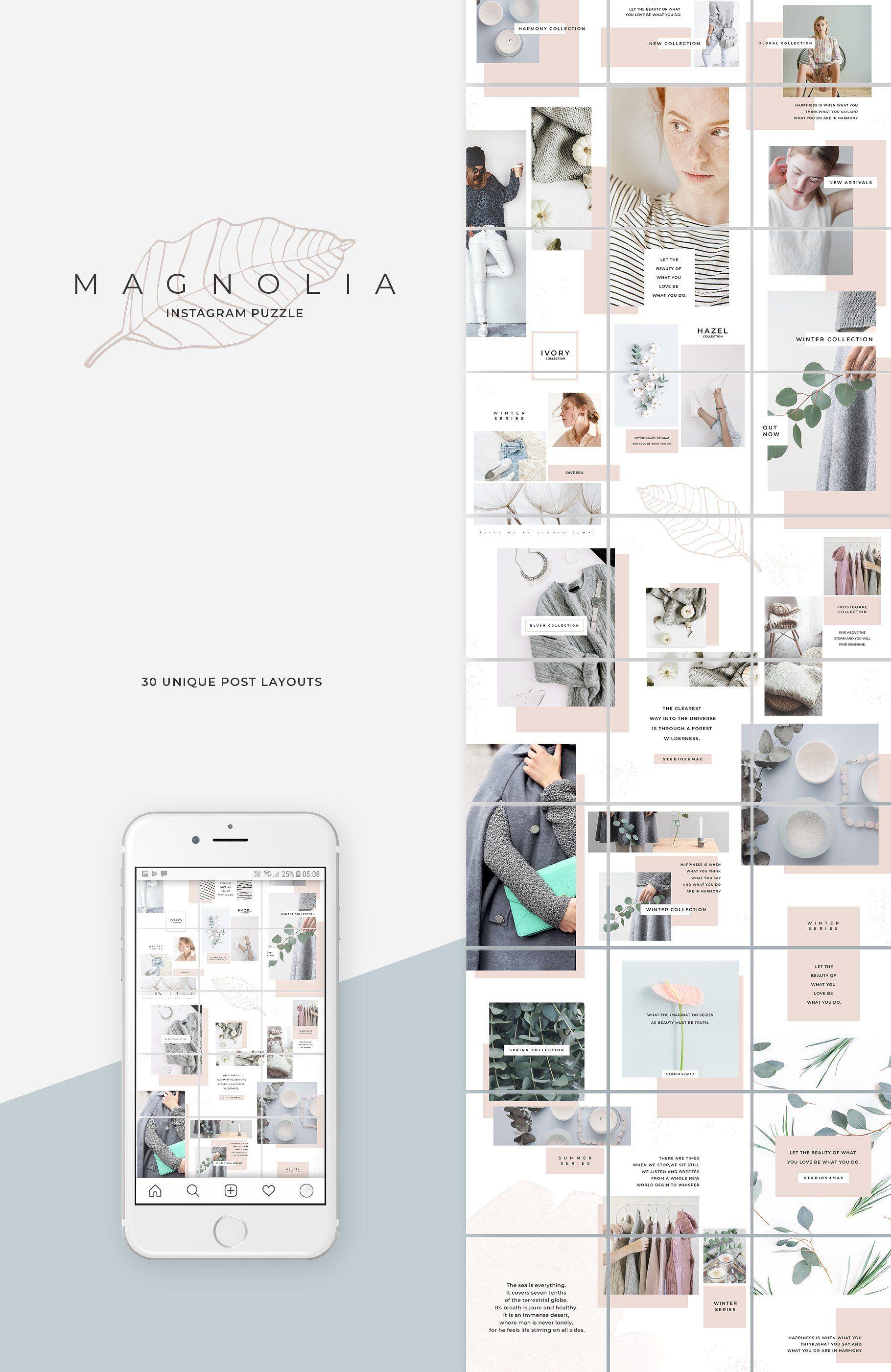 Magnolia Instagram Puzzle Template Instagram Template Design Design Instagram Design