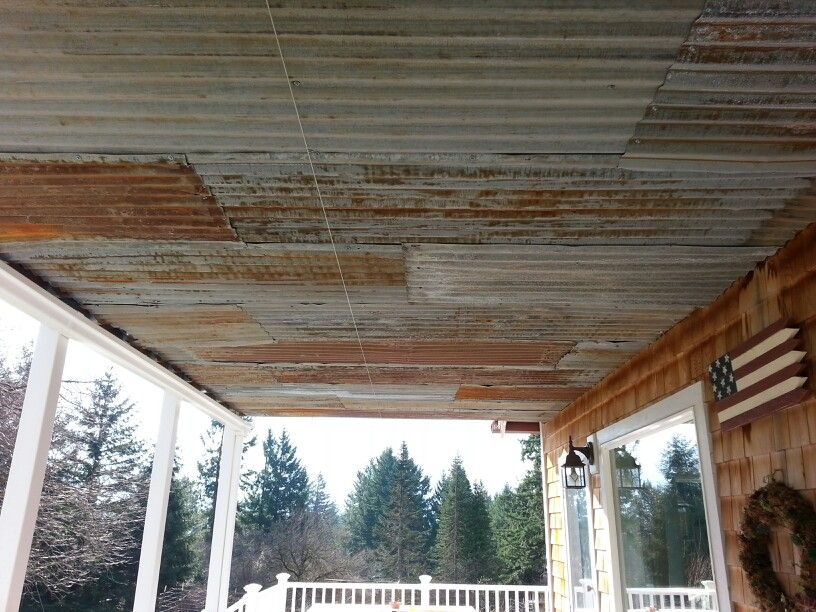 Re Purposed Metal Roofing For Porch Ceiling Cheeper Than White Vinyl Beadboard Still Gives Cottage Look Porch Ceiling Metal Roof Metal Ceiling