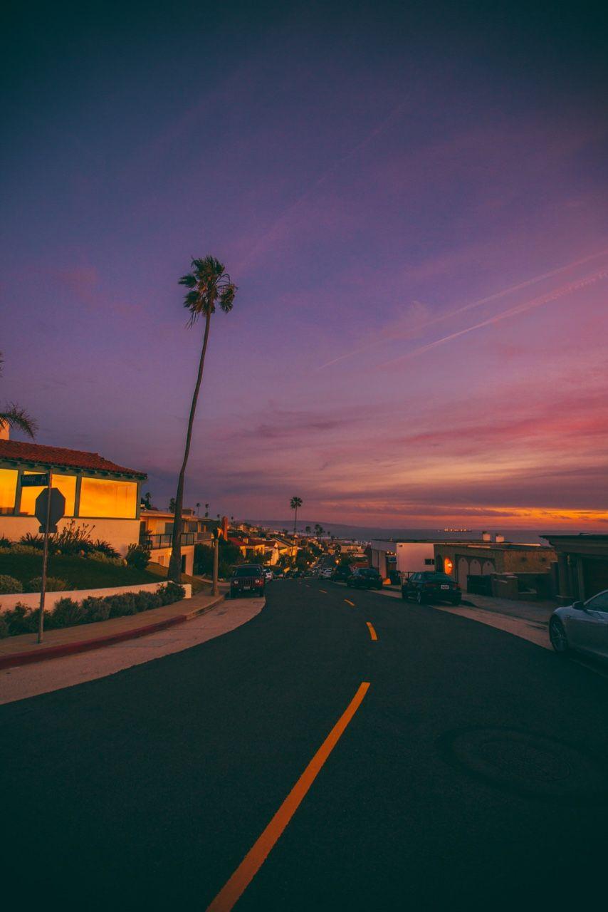 California Destinations Places Los Angeles Sunset La Sky Purple Palm Tree Sky Aesthetic California Palm Trees City Aesthetic