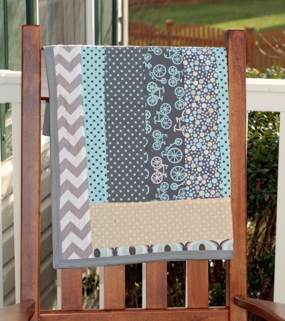 Patchwork baby blanket michael miller bicyclescompleted and ready