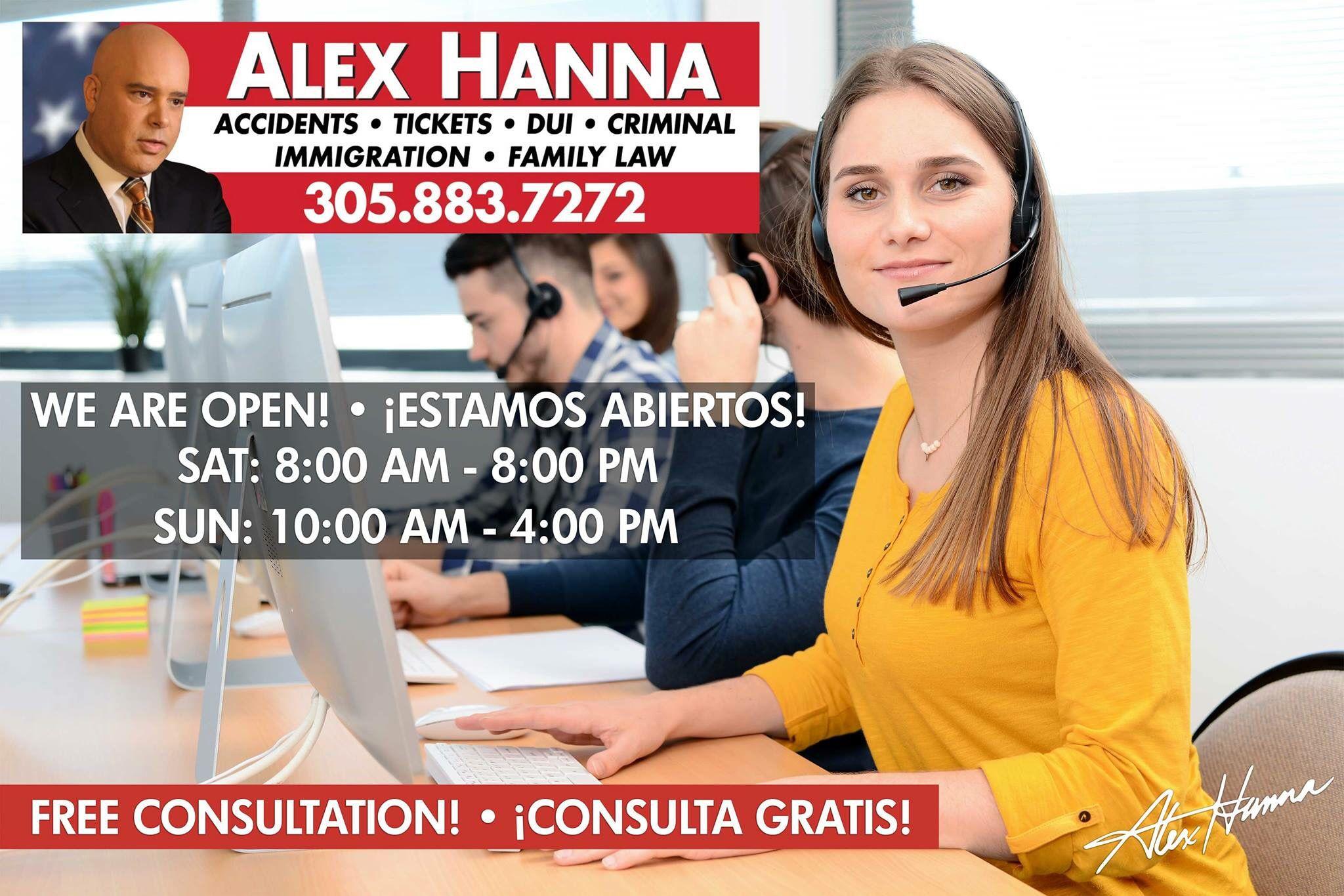 Need An Attorney Call Me Now For A Free Consultation 305 883 7272 We Are Open Until 8 Pm Necesita Un Abogado Alex Hanna Criminal
