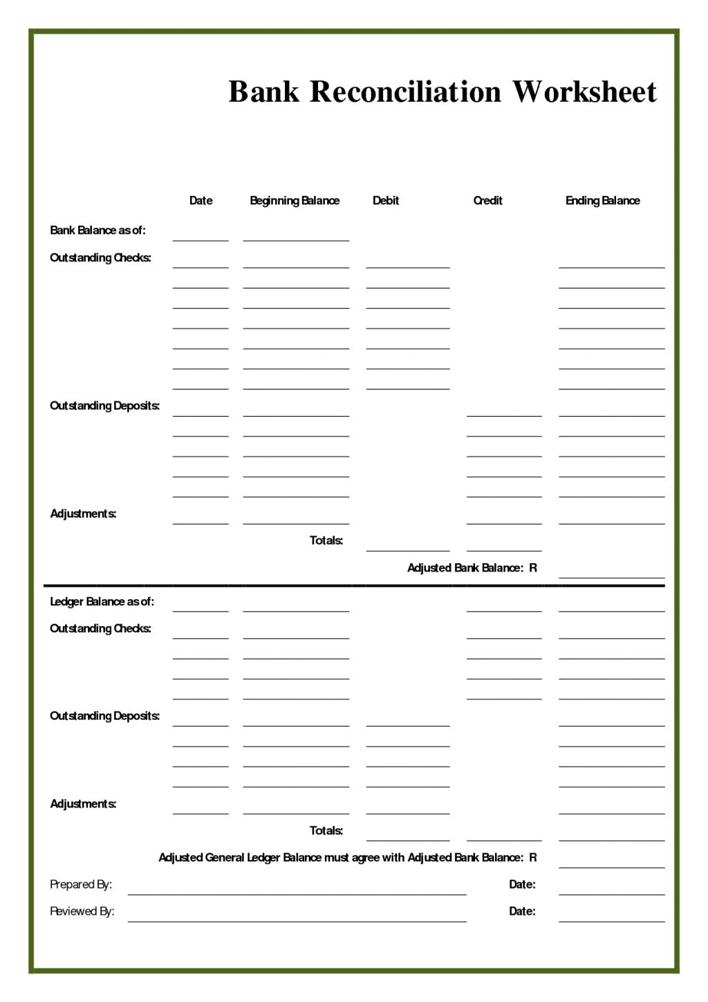 The Bank Reconciliation Worksheet Template Is A Very