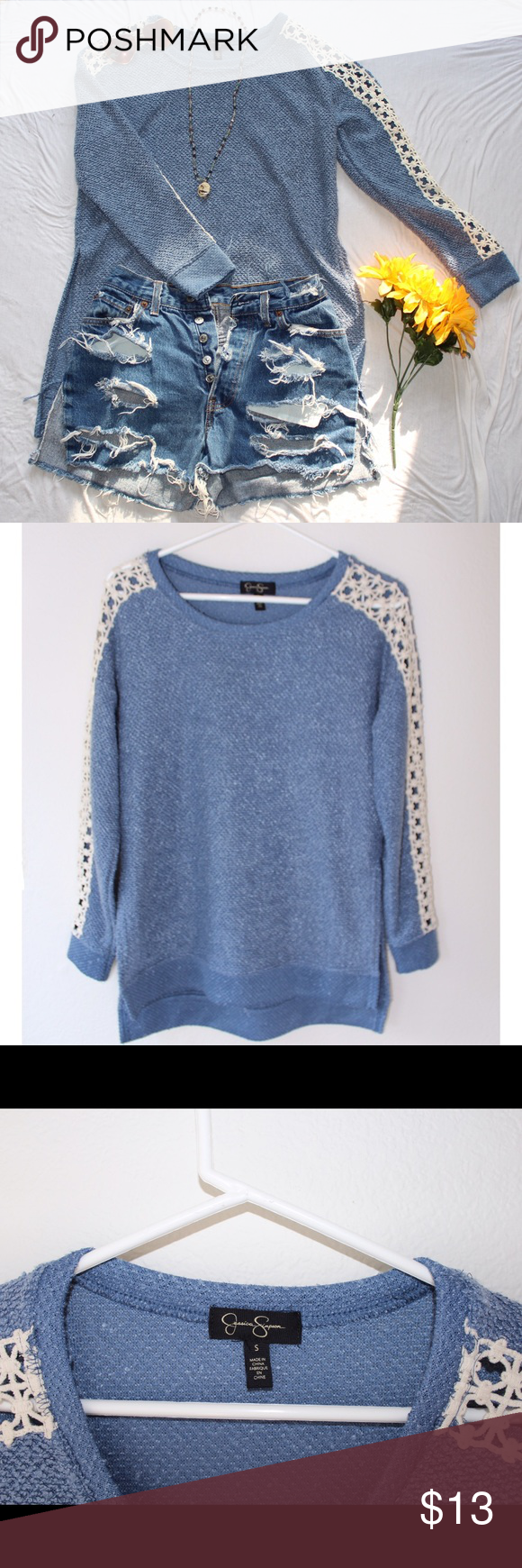 Blue Lace Sweater | Lace sweater, Blue lace and Blue sweaters