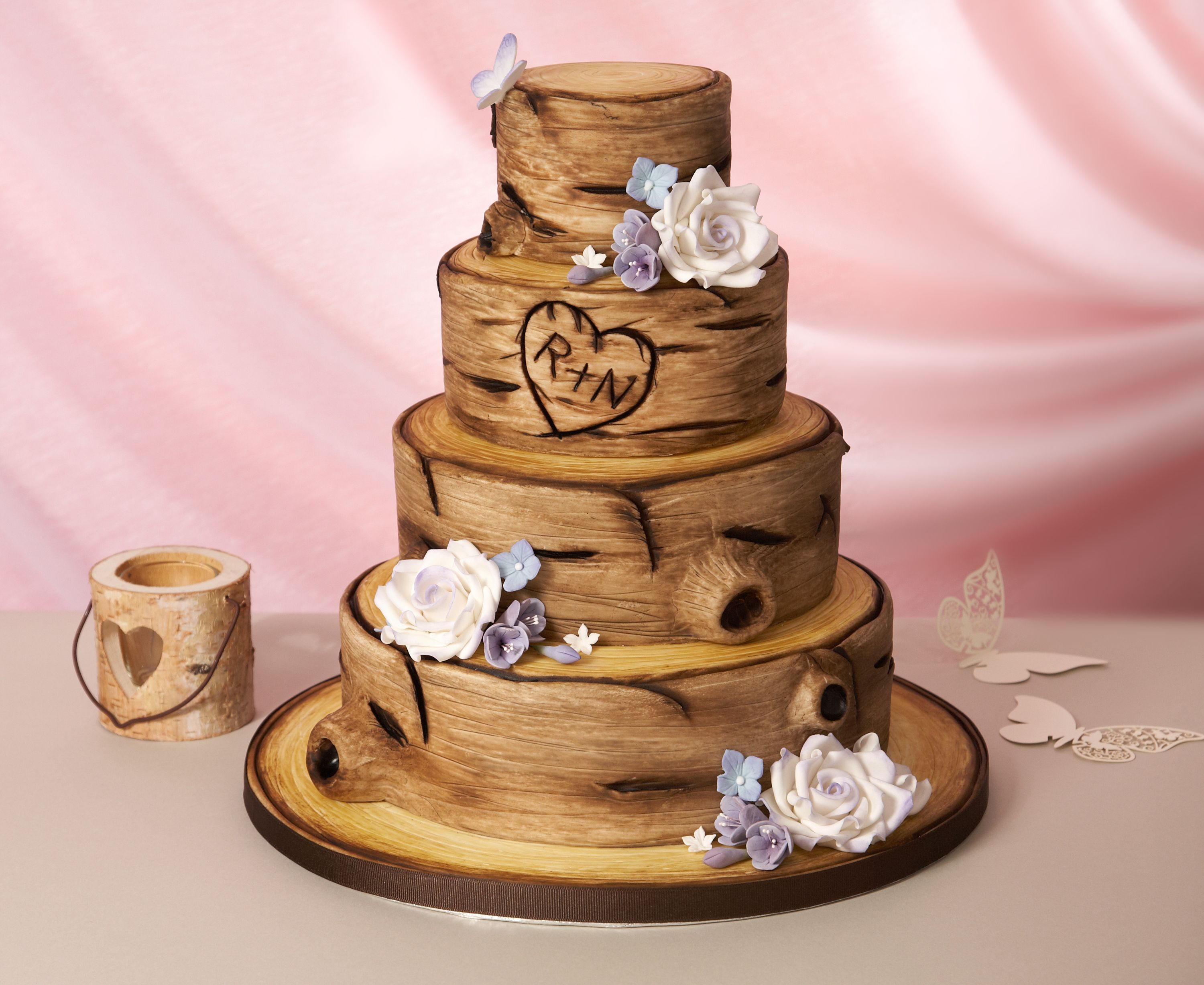 Learn how to make a rustic tree bark effect wedding cake > http ...