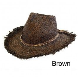 Unisex Natual Straw Cowboy Sun Hat Fancy Dress  Brown