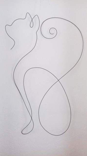 Pisica – desen-sculptură de perete în fir continuu de sârmă de 1,5 mm