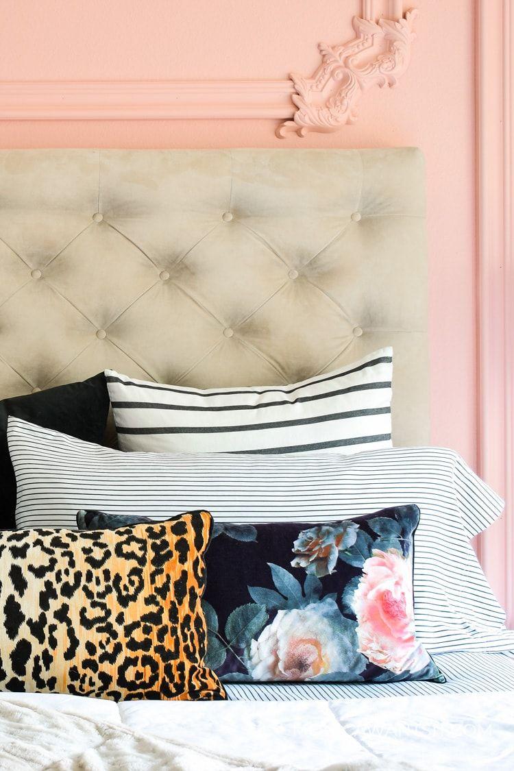 Pink Quartz Master Bedroom Accent Wall Monica Wants It In 2020 Master Bedroom Accents Accent Wall Bedroom Bedroom Paint Colors Master