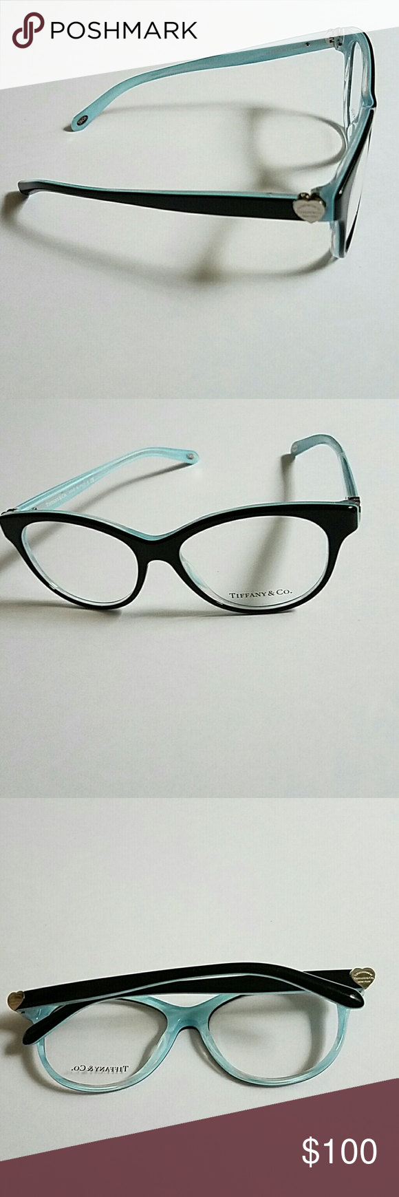 59e9ce16d8c2 Tiffany eyeglasses - blue interior Authentic, silver heart accents on side  Tiffany & Co. Accessories Glasses