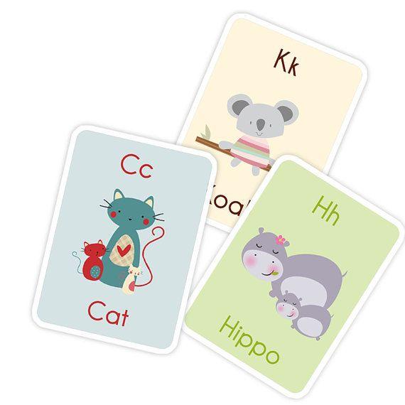Alfabeto imprimible niños  Children's Alphabet Flash por ByYolanda, €7.50