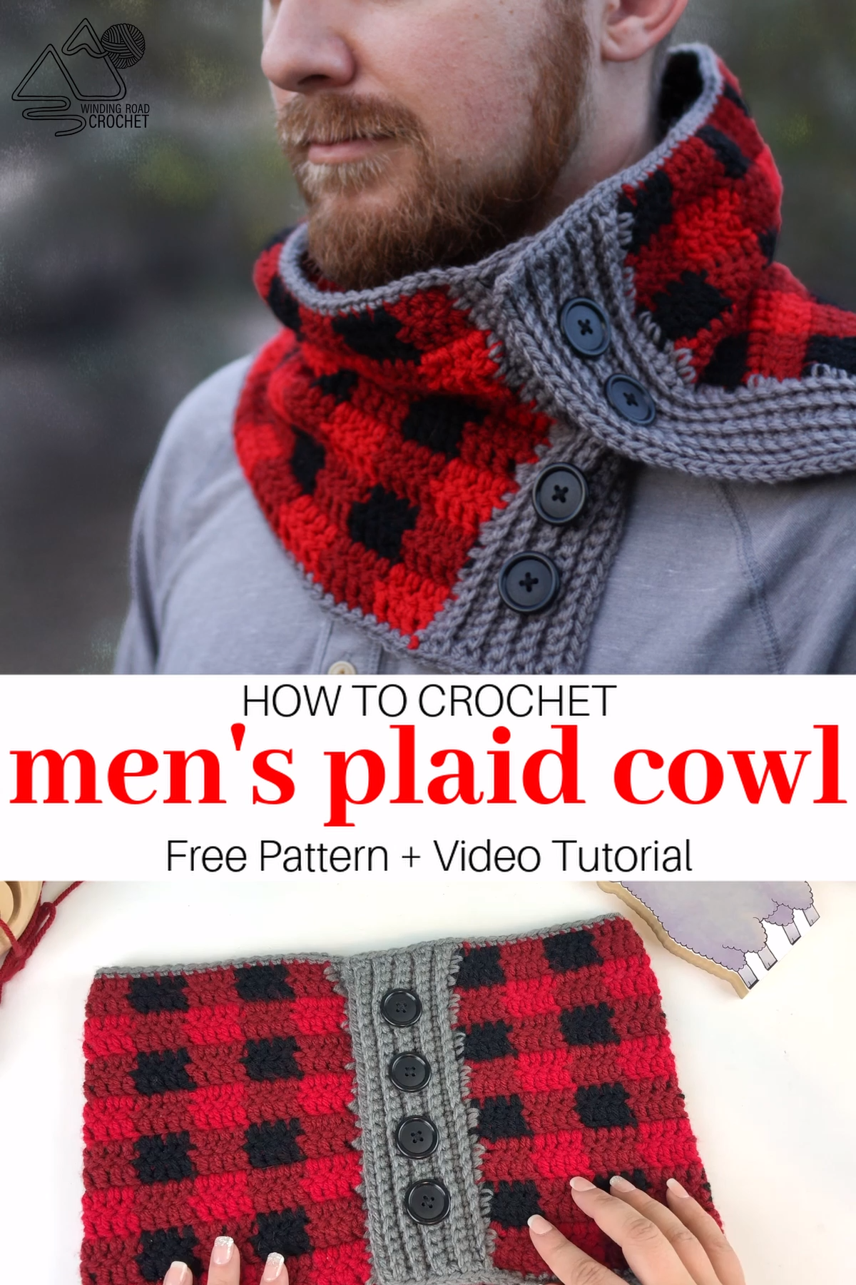 Men's Plaid Cowl Crochet Pattern and Video Tutorial
