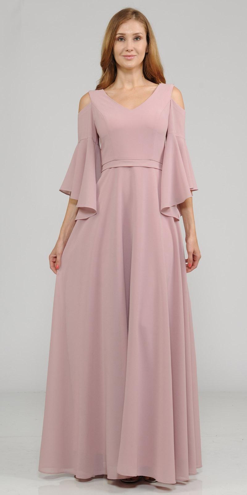 Coldshoulder vneck long formal dress bell sleeve