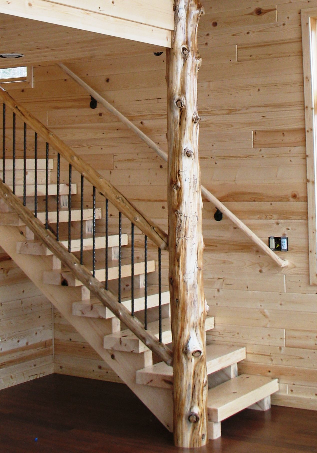 Timber Style Stair In A Contemporary Lake Home With Cedar Natural Log Railing Wrought Iron Balers