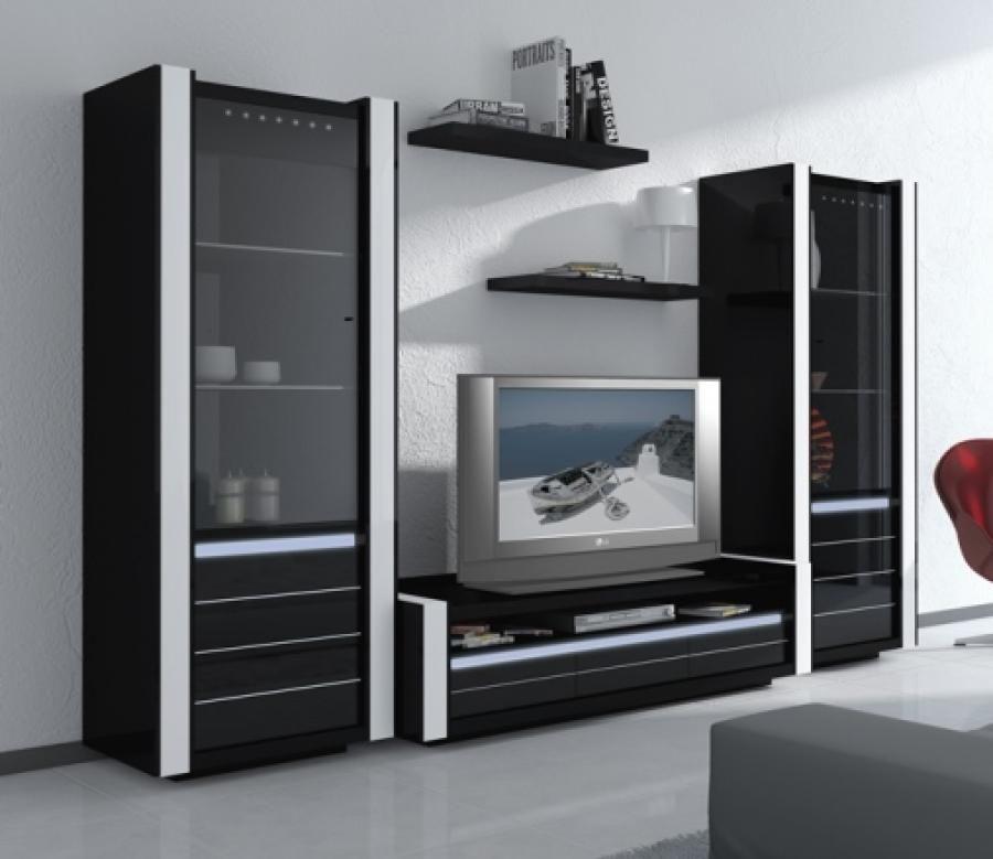 Black Wall Unit avantgarde, black gloss tv wall unit with integral light | tv1