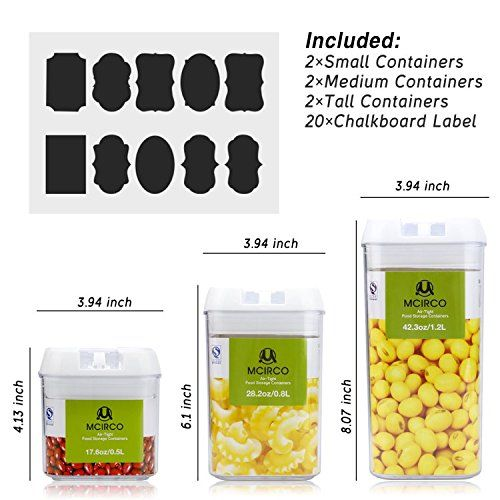 Food Storage Container MCIRCO Air-Tight Cereal u0026 Dry Food Storage Set- 6 Piece Set with Free 20 Pcs Chalkboard Labels - Food Grade Durable Plastic BPA Free ...  sc 1 st  Pinterest : food storage container labels  - Aquiesqueretaro.Com