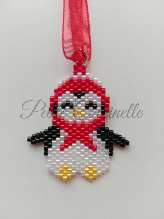 Penguin Christmas decoration in Pearl White, black, yellow, red miyuki