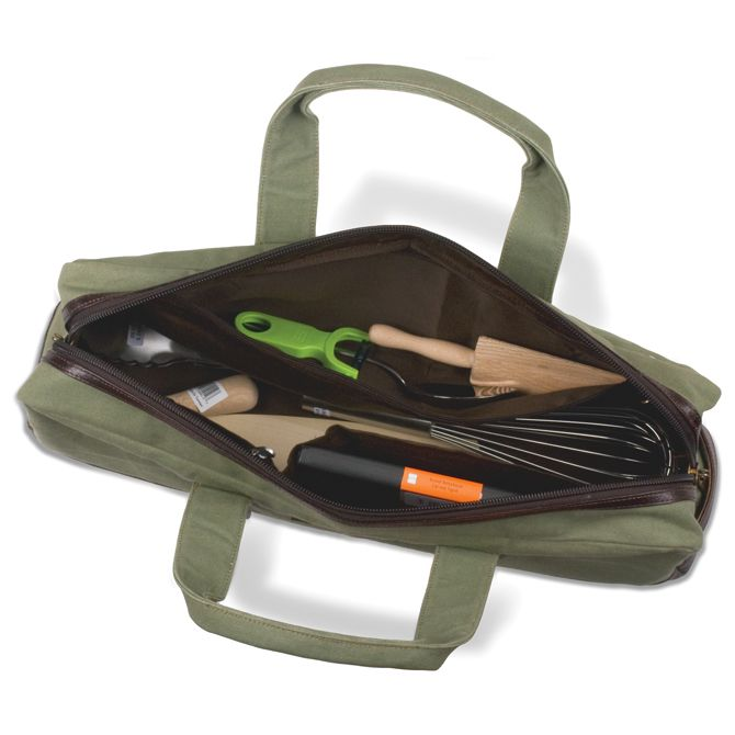 78b5f9d1cc53 Boldric Chef Carryall Green Canvas with Brown Leather Trim | chef ...