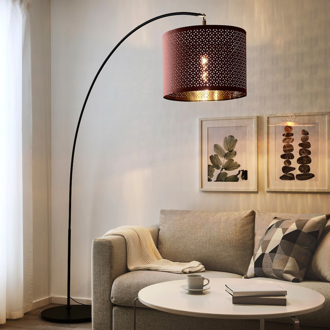 Nymo Lamp Shade Dark Red Brass Color 17 Ikea In 2020 Floor Lamp Base Mid Century Floor Lamps Floor Lamp #red #lamps #for #living #room