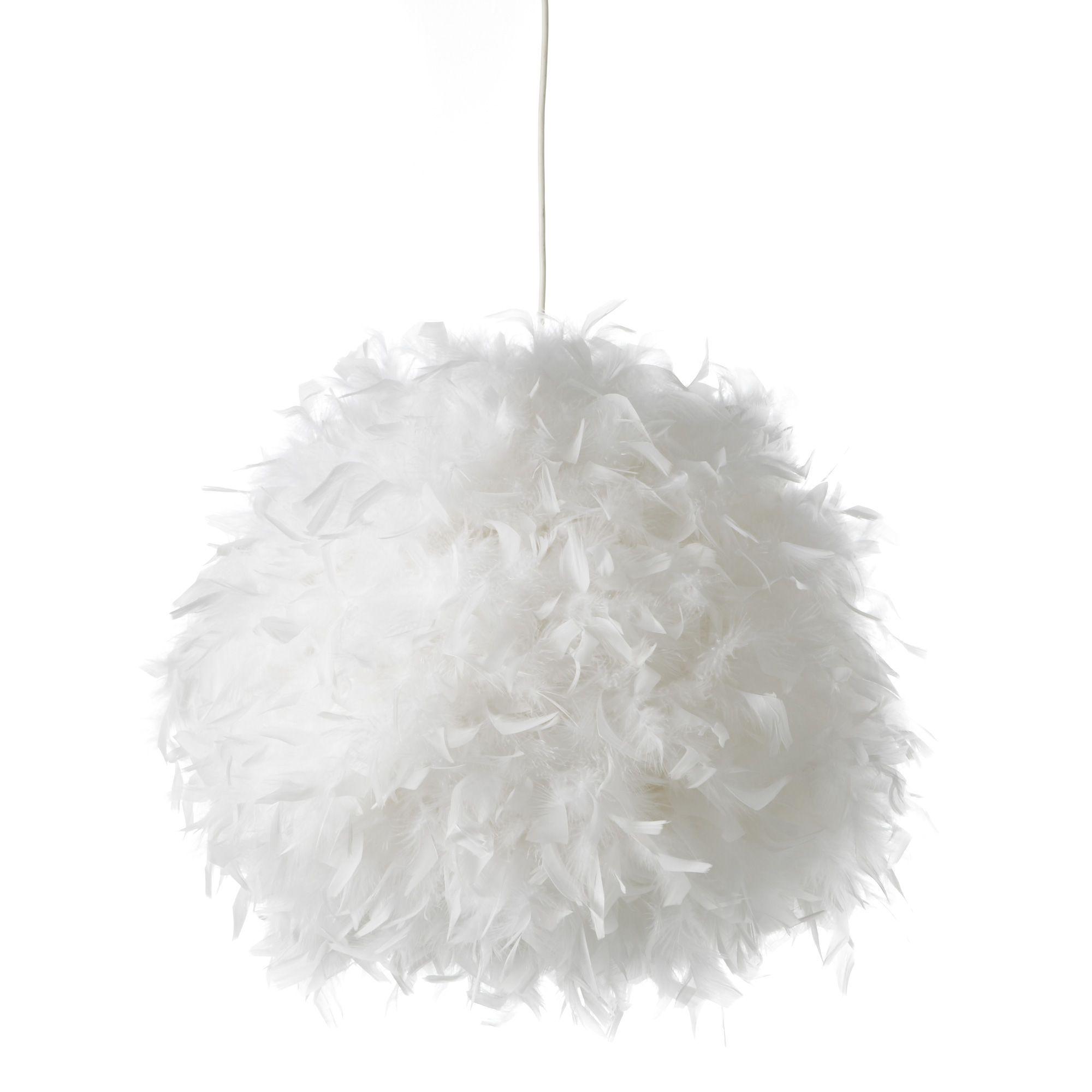 Boule De Plume A Suspendre suspension boule en plumes non-électrifiée d50cm blanc blanc