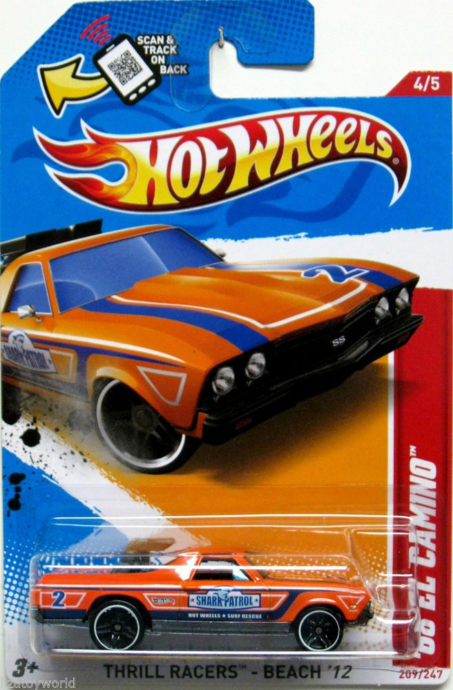 1968 Chevy El Camino Hot Wheels 2012 Thrill Racers Beach 4 5