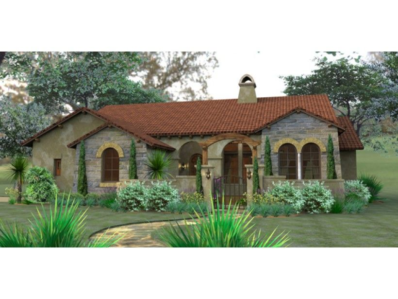 Mediterranean house plan with 1749 square feet and 3 for Mediterranean house plans with courtyards