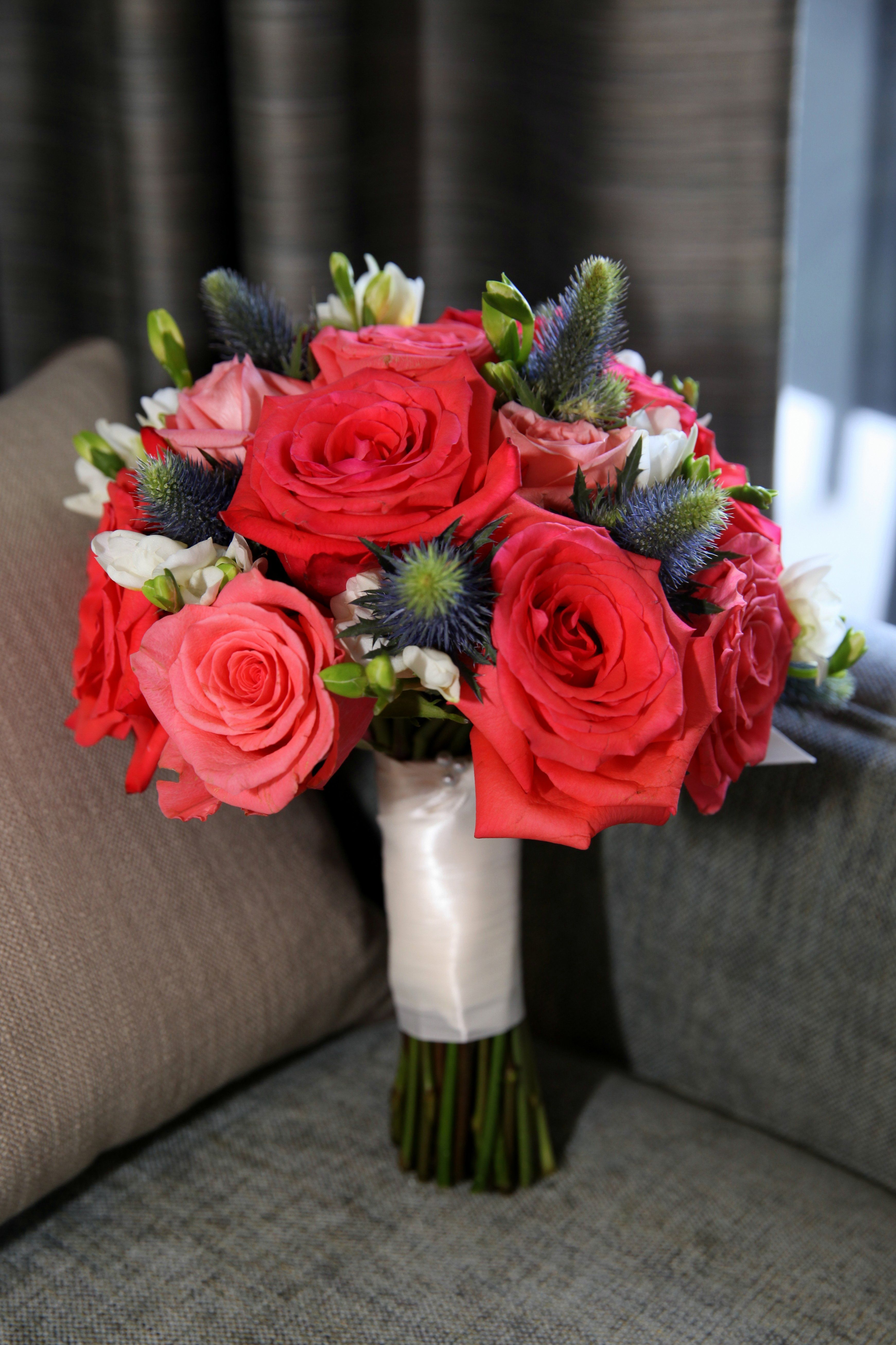 Navy And Coral Bridal Bouquet