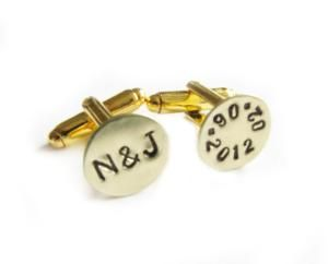 Gold Plated Initial Date Hand Stamped Wedding Men by JSCJewelry