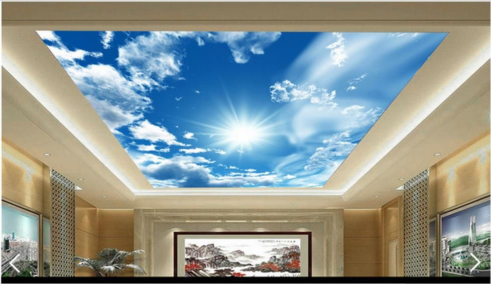 3d photo wallpaper custom 3d ceiling wallpaper murals blue sky white ...