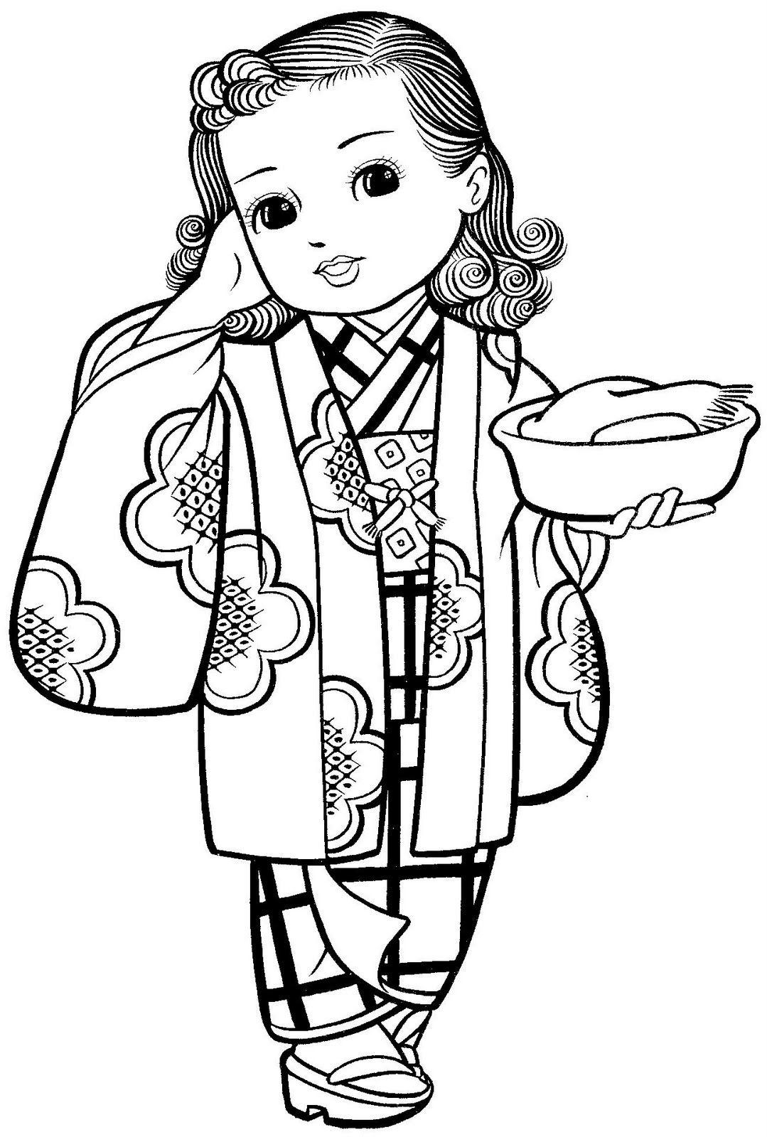 Maravilhosas Meninas Japonesas Com Kimonos Para Colorir Japanese Drawings Vintage Coloring Books Coloring Books