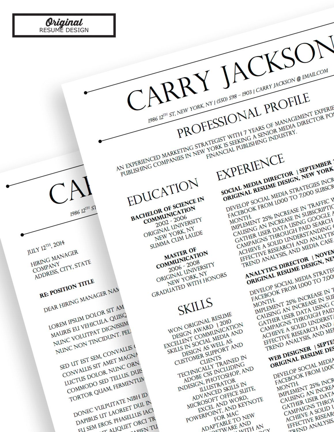 Carry Jackson Modern 2Page FANCY Resume + Cover Letter