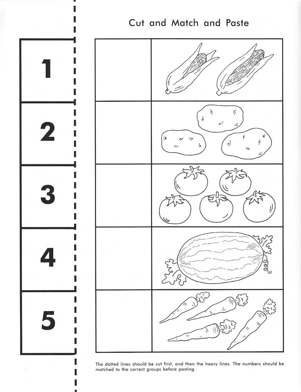 Cut count match and paste Free printable – Kindergarten Worksheets Cut and Paste