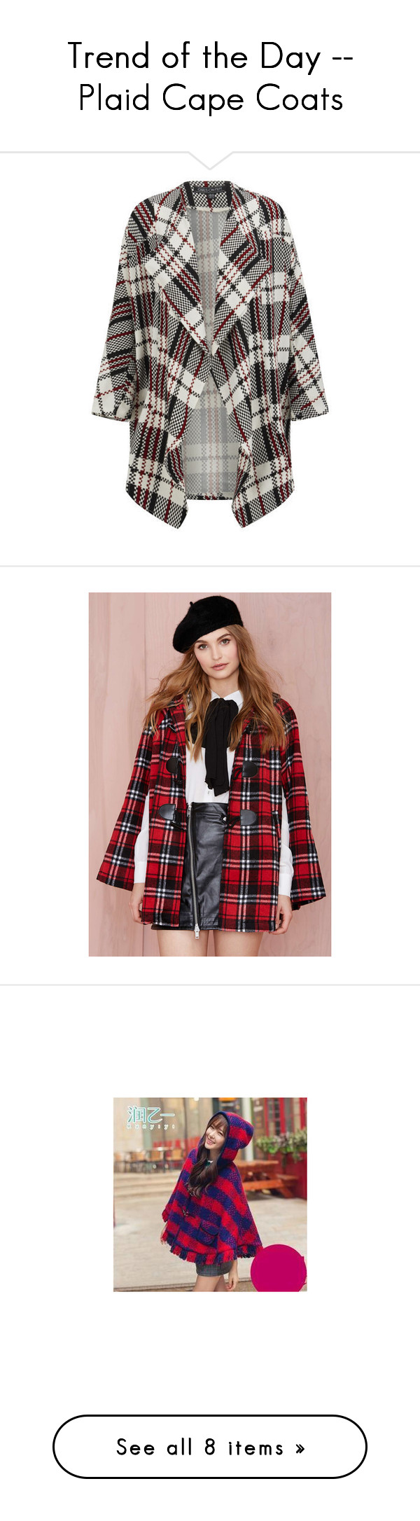 """Trend of the Day -- Plaid Cape Coats"" by blissfulstyle ❤ liked on Polyvore featuring outerwear, multi, cape coat, tartan cape, plaid cape, plaid cape coat, red cape coat, jackets, relad and black and red cape"