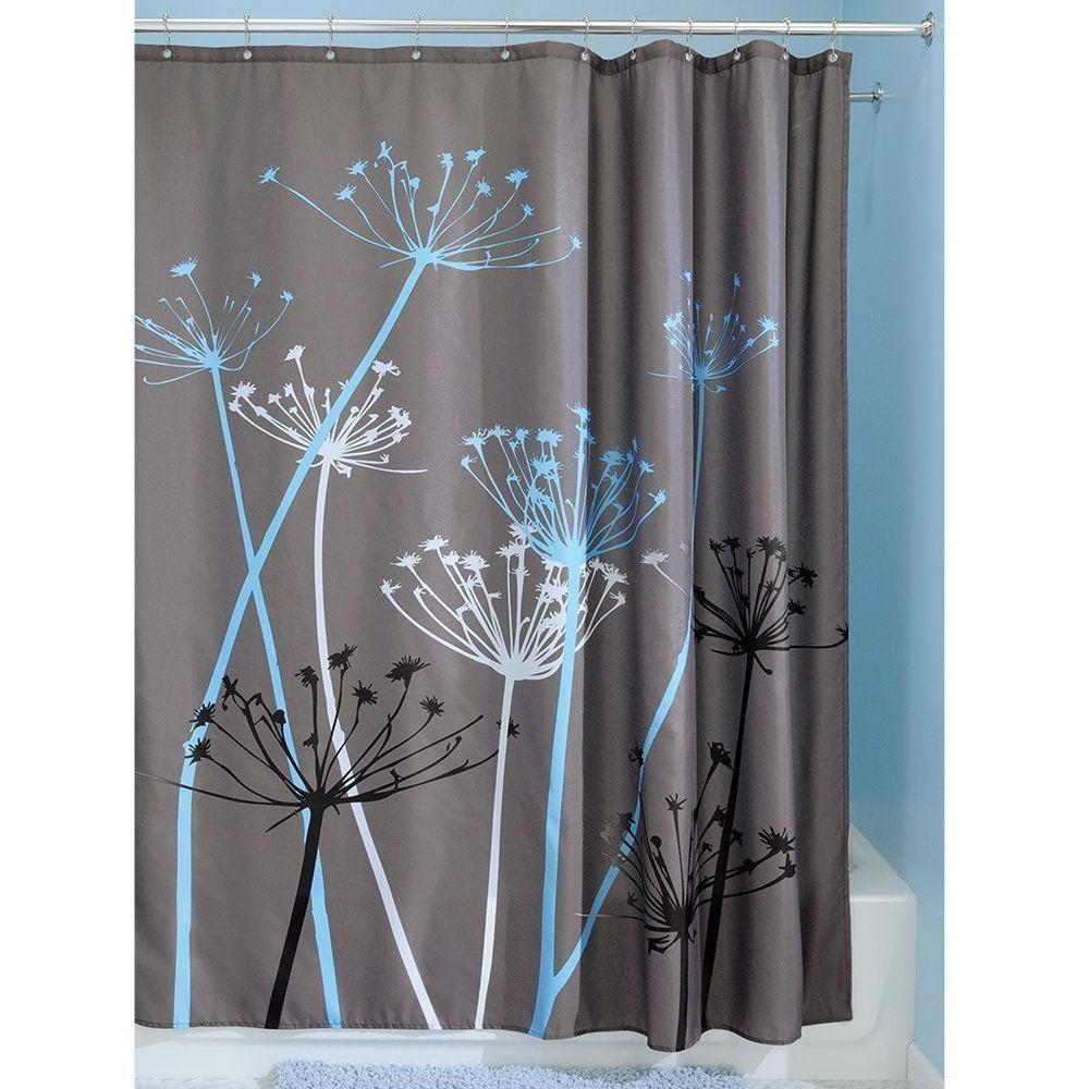 Grey blue floral modern x inch shower curtain in